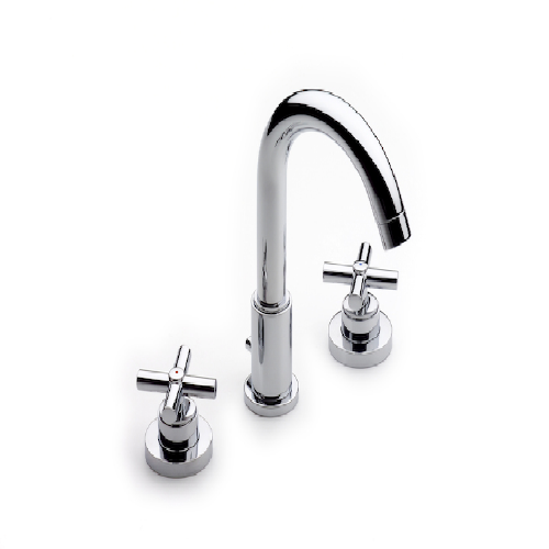 Roca Loft Deck Mounted Basin Mixer Tap With Pop Up Waste